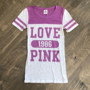 PINK by Victoria's Secret purple and white Tee XS